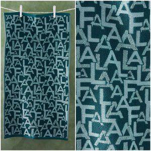 Anthropologie Fa La La Hand Green Towels Single
